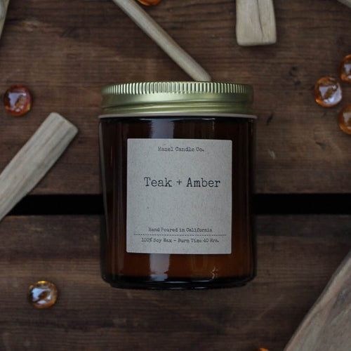 Teak + Amber Hand Poured Soy Candle