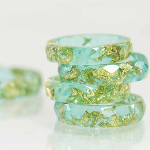Teal Blue Eco Resin Ring with Gold Flakes - Blume Market