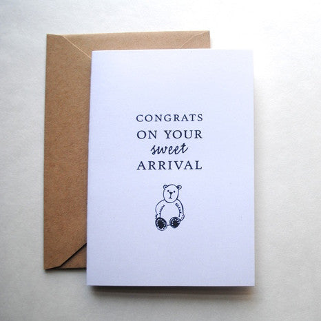 'Congrats On Your Sweet Arrival' New Baby Greeting Card