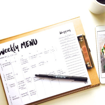 Notepad: Weekly Menu with Tear-Off Market List