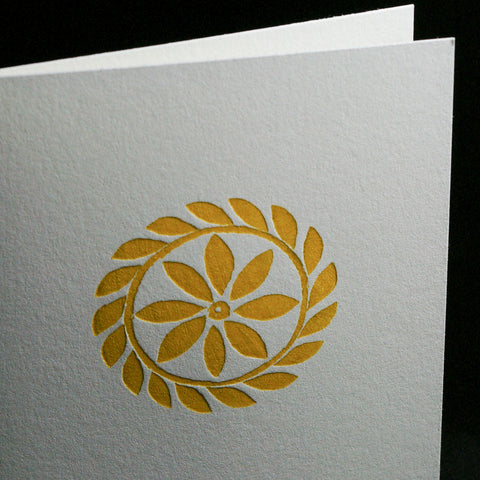 Yellow Floral Letterpress Card