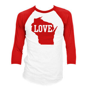 WI Love 3/4 Sleeve Baseball Tee Red/White [Unisex]