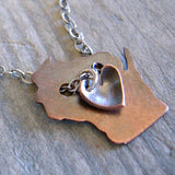 Wisconsin Pendant Copper Necklace With Heart