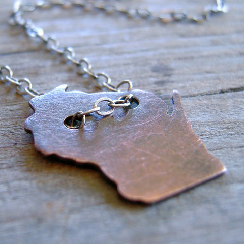 Wisconsin Pendant Copper Necklace