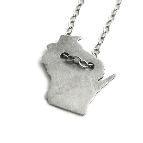 Wisconsin Pendant Oxidized Sterling Silver Necklace