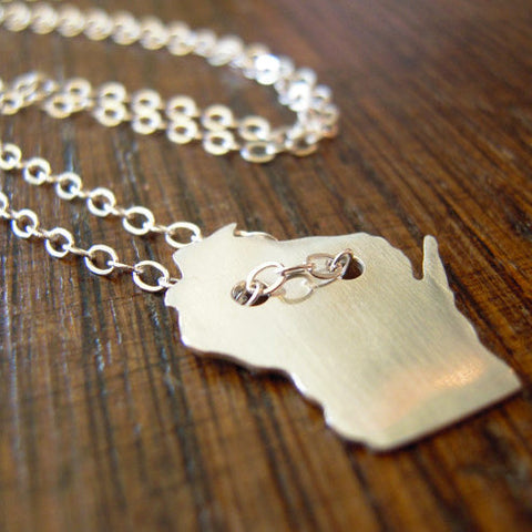 Wisconsin Pendant Sterling Silver Necklace