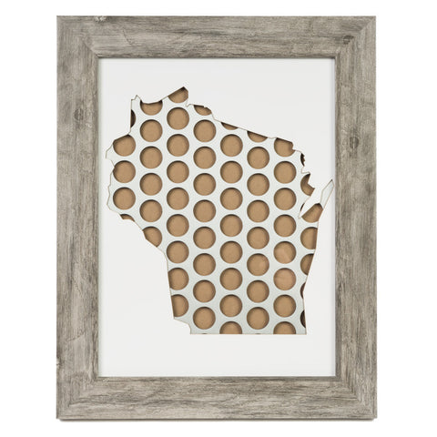 Wisconsin Framed Beer Cap Art