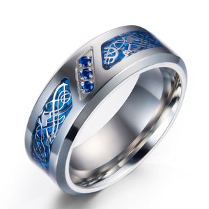 Stainless Steel Celtic Dragon Ring With Blue CZ Diamonds