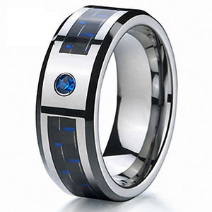 0.31 Inch Wide Black And Blue Carbon Fiber Tungsten Carbide Ring With Blue Cubic Zirconia Stone