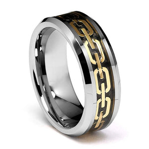 0.31 Inch Wide Tungsten Carbide Ring With Gold Plated Chain Inlay