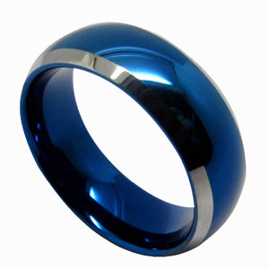 0.24 or 0.31 Inch Wide Blue Tungsten Carbide Domed Ring With Beveled Silver Edges