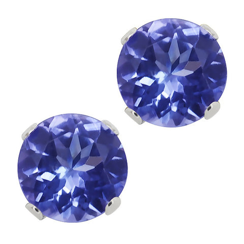 Solid 14K White Gold Stud Earrings With 1 Carat Round Cut Natural Tanzanite Stones