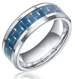 32374644033 - 0.31 Inch Wide Tungsten Carbide Ring With Blue Carbon Fiber Inlay