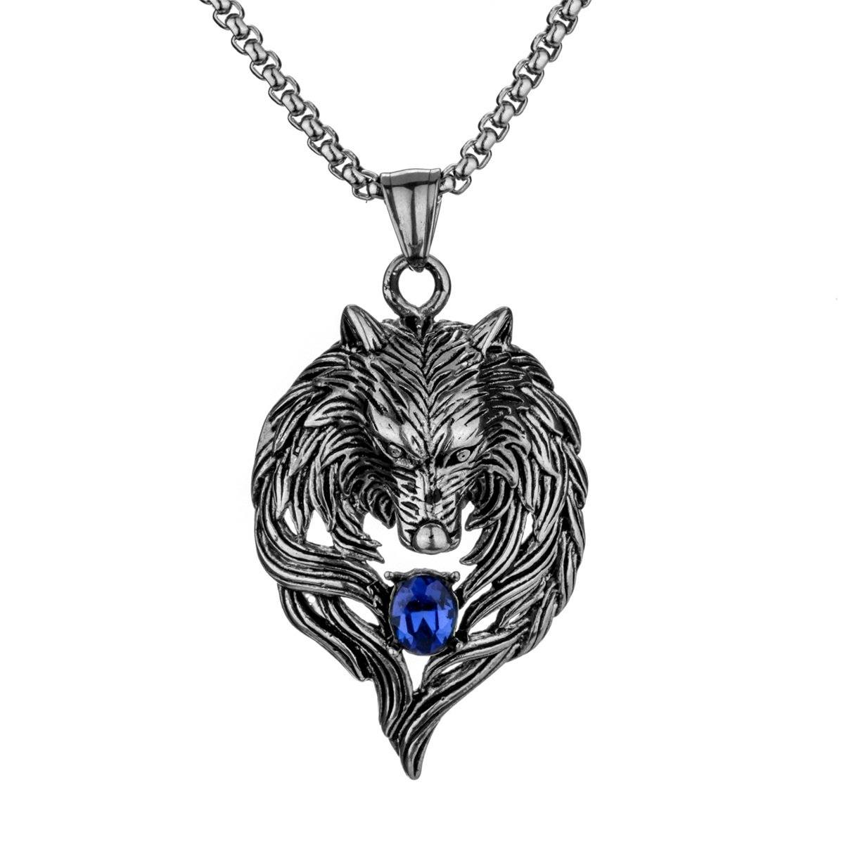 32390953835 - Stainless Steel Wolf Pendant Necklace With CZ Stone