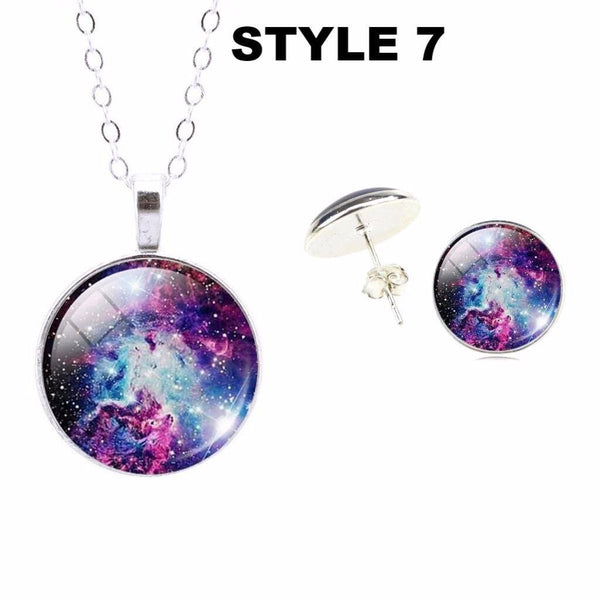 32416145753 - Sterling Silver Galaxy Nebula Picture Pendant Necklace And Stud Earrings Set