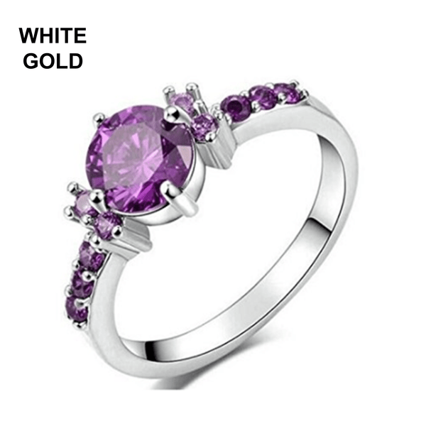 32442308558 - White Gold Plated Ring With Cubic Zirconia Purple Amethyst Stone