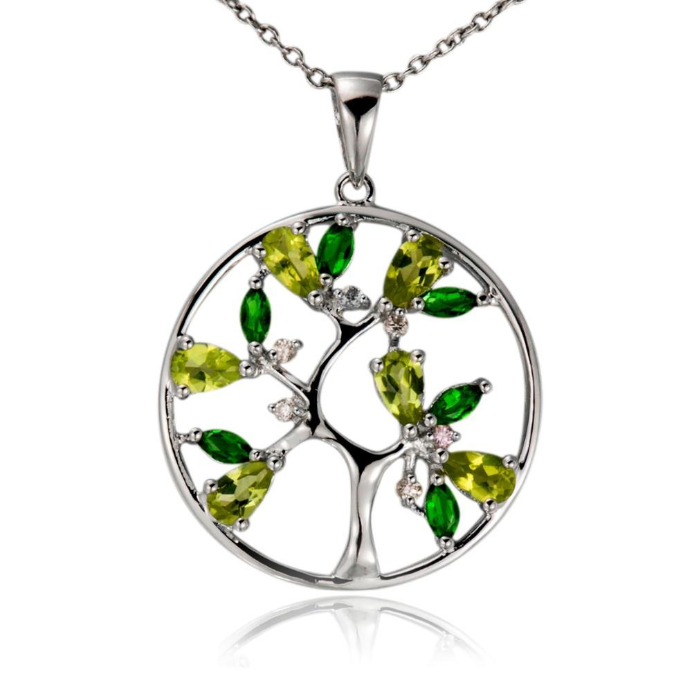 32473157126 - 925 Sterling Silver Natural Peridot Tree Of Life Pendant Necklace