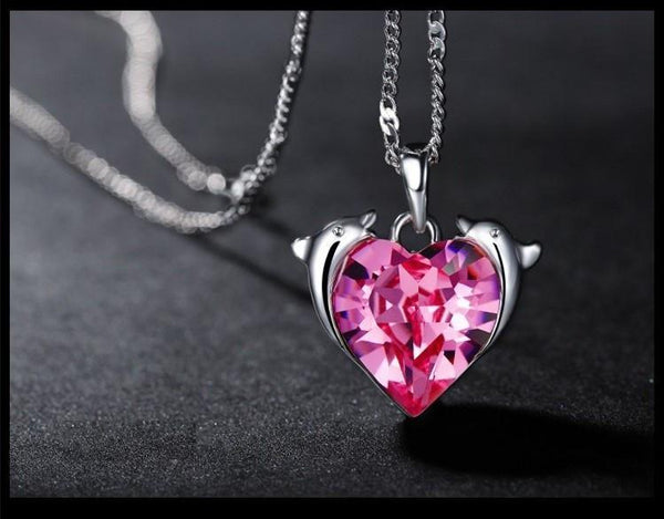 32540690287 - Dolphin Necklace With Heart Shaped Crystal