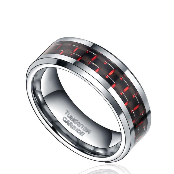 32559641332 - Tungsten Carbide Ring With Carbon Fiber Red And Black Inlay