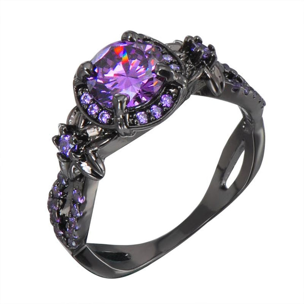 32622511138 - Black Gold Filled Promise Ring With Cubic Zirconia Amethyst Stone