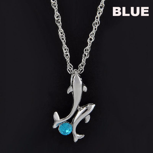 32672636627 - Dolphin Family Necklace With Crystal Stone