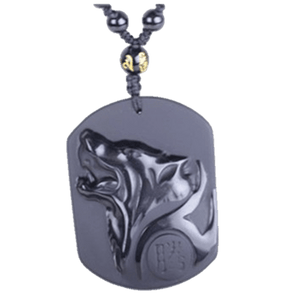 32680384696 - Black Obsidian Carved Wolf Head Necklace