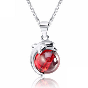 32695487619 - 925 Sterling Silver Red Agate Dolphin Pendant Necklace