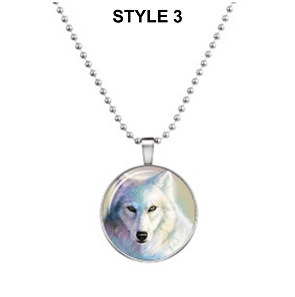32714386119 - Wolf Glow In The Dark Cabochon Pendant Necklace