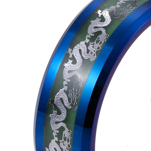32781839503 - Glow In The Dark Tungsten Carbide Chinese Dragon Ring
