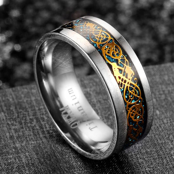 32798444625 - 0.31 Inch Wide Gold And Blue Titanium Celtic Dragon Ring