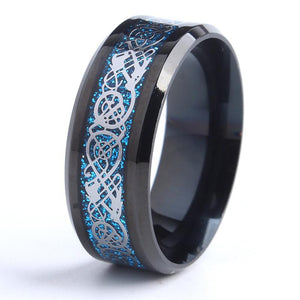 32803631859 - Silver And Blue Stainless Steel Celtic Dragon Ring