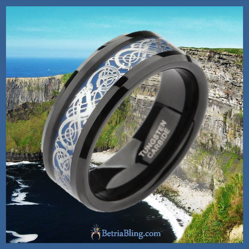 32805071066 - Tungsten Carbide Silver And Black Celtic Dragon Ring