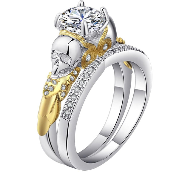 32824081891 - Cubic Zirconoa Skull Two Piece Promise Ring