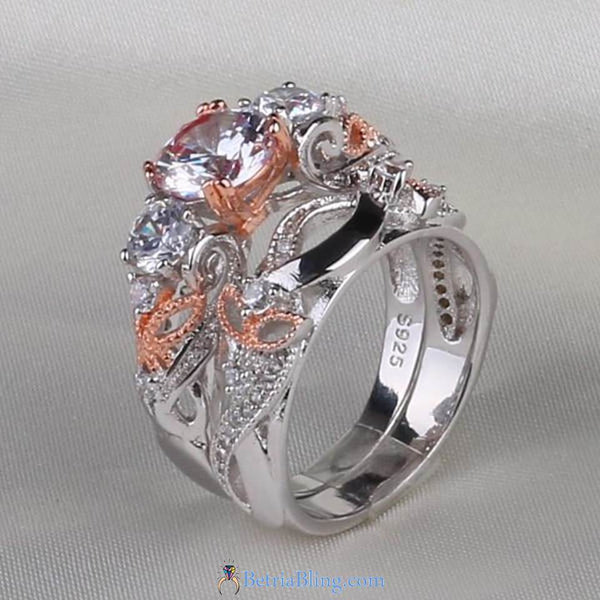 32827965102 - 925 Sterling Silver White Rose Two Piece Promise Ring
