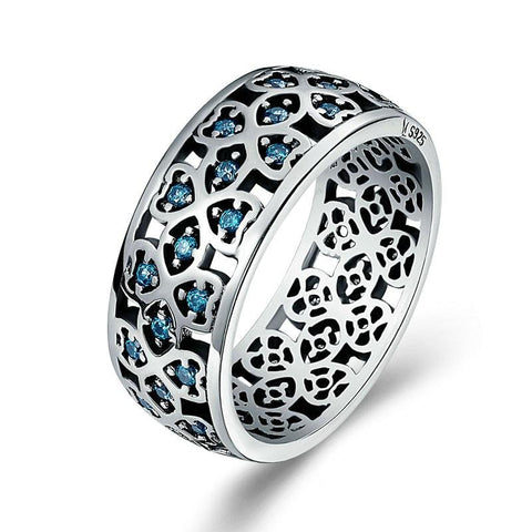 32828074950 - 925 Sterling Silver Lucky Clover Ring With Blue Zircon Stones