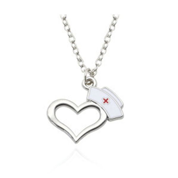 32830604602 - Heart And Nurse Hat Pendant Necklace