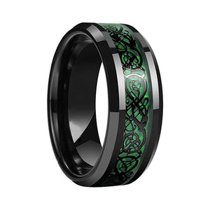 32833515578 - Green Tungsten Carbide Celtic Dragon Ring