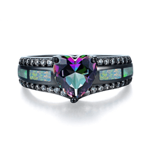 32835519794 - Multicolor Heart Zircon Fire Opal Ring
