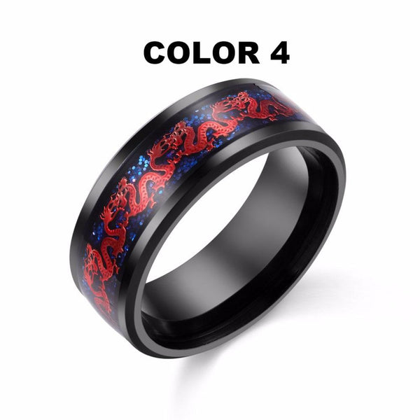 32837560720 - Stainless Steel Red Chinese Dragon Ring