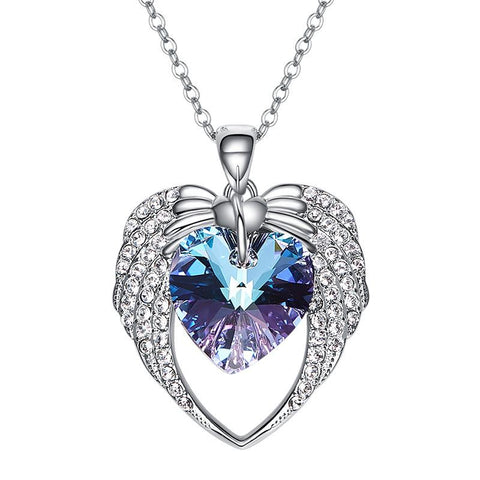 32840895711 - Sparkling Angel Wing Heart Necklace