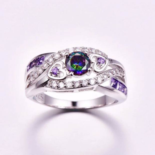 32843465444 - Elegant Rainbow Topaz Engagement Ring