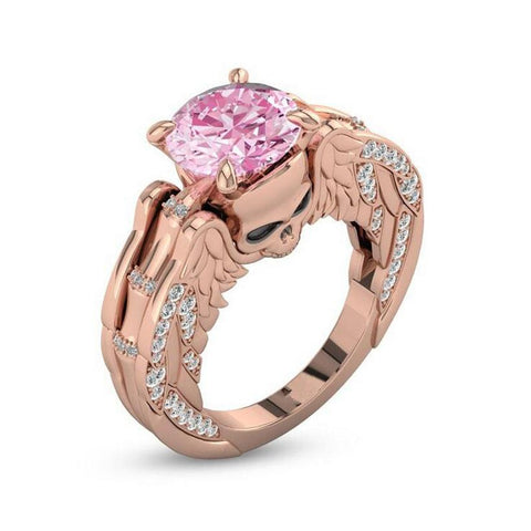 32845147013 - Pink Cubic Zircon Rose Gold Plated Skull Ring