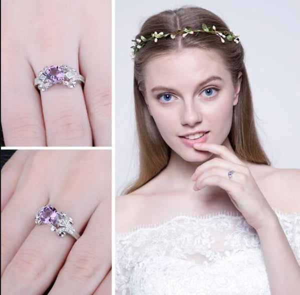32853737443 - Dazzling Lilac Sterling Silver Ring