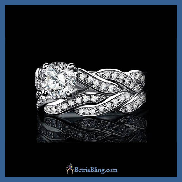 32854731017 - 925 Sterling Silver Eternity Two Piece Promise Ring