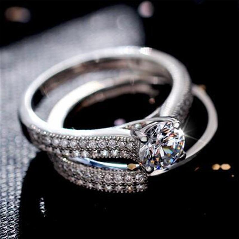 32859015042 - White Gold Filled Sparkling Two Piece Promise Ring