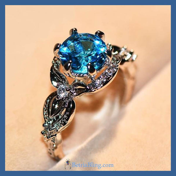 32881181191 - White Gold Filled Ocean Blue Engagement Ring