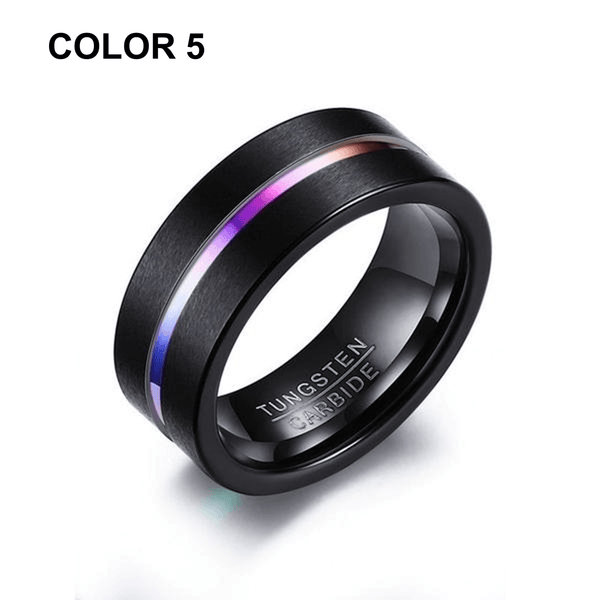 32907241677 - Colorful Striped Tungsten Carbide Ring