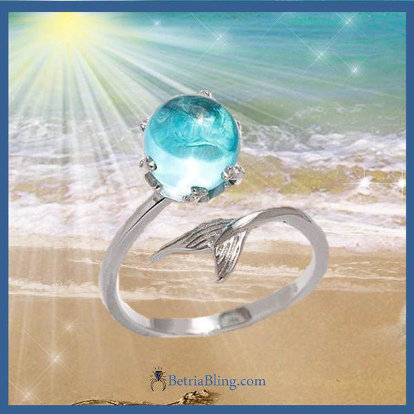 32915905510 - Blue Crystal Mermaid Ring
