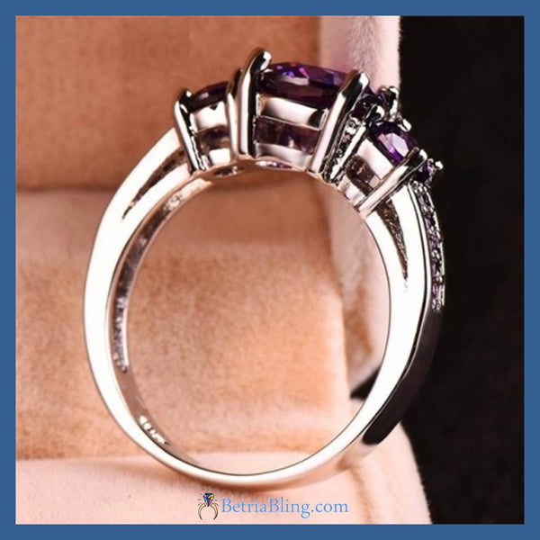32930893346 - White Gold Filled Austrian Crystal Wedding Ring