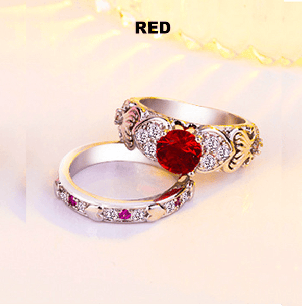 32948395679 - Burning Heart 925 Sterling Silver Two Piece Promise Ring